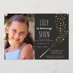 Magic themed photo birthday party invitation