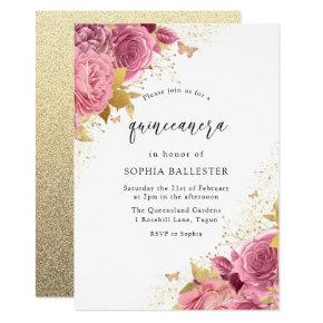 Magical Blush PInk Gold Flowers Quinceanera Party Invitation
