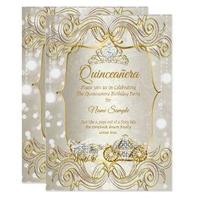 Magical Quinceanera carriage gold Beige Silver Invitation