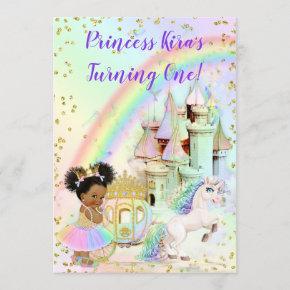 Magical Rainbow Princess Castle Carriage Unicorn Invitation