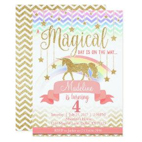 Magical Rainbow Unicorn Birthday Party Invitations