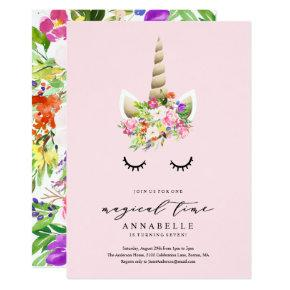 Magical Time Unicorn Birthday Invitation