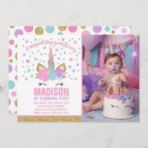 Magical Unicorn Birthday Invitation Pink Gold