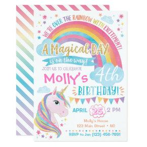 Magical Unicorn Birthday Invitations Rainbow Invite