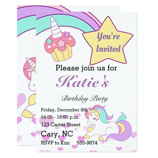 magical unicorn children birthday invitations candied clouds