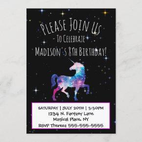 Magical Unicorn Galaxy Birthday Invitation
