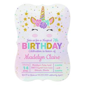 Magical Unicorn Kids Birthday Party Invitations