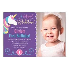 Magical Unicorn Purple Photo Birthday