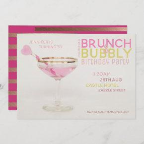 Magnificent 30th BRUNCH BUBBLY Cocktail PINK GOLD Invitation