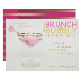 Magnificent 50th BRUNCH BUBBLY Cocktail PINK GOLD Invitation