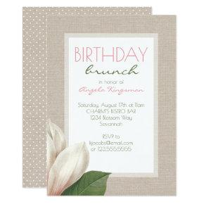 Magnolia Bloom Ladies Birthday Brunch Invitation