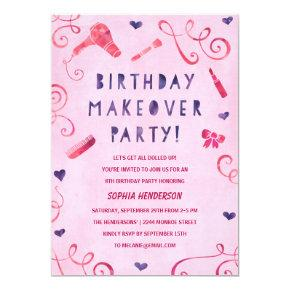 Makeover Party | Pink & Purple Girls Birthday Invitation