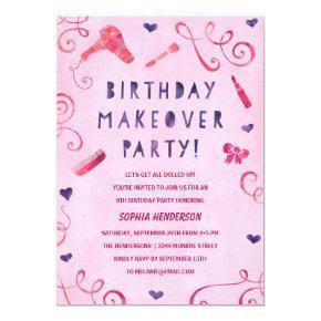 Makeover Party | Pink & Purple Girls Birthday Invitation