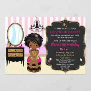 Makeup birthday invitation SPA nail polish invite