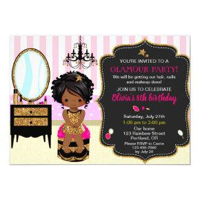 Makeup birthday invitation SPA nail polish invite
