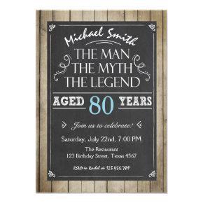 Man Birthday Invitations Chalkboard Rustic Adult 80