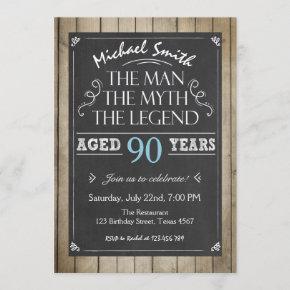 Man Birthday invitation Chalkboard Rustic Adult 90