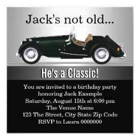 Mans Antique Car Birthday Party Invitations