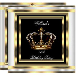 Mans Black Silver White Gold Birthday Prince King Invitations