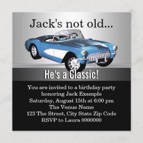 Mans Blue Antique Car Birthday Party Invitation