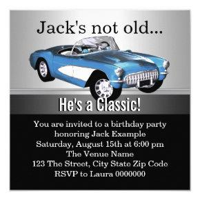 Mans Blue Antique Car Birthday Party Invitations
