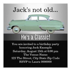 Mans Classic Car Birthday Party Invitations