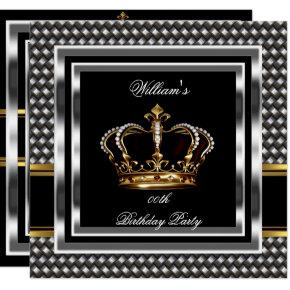 Mans Elegant Black Silver Birthday Prince King Invitation