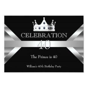 Mans Elegant Black Silver Prince King Birthday Invitation