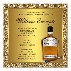 Mans Gold Aged To Perfection Whiskey Birthday Invitation