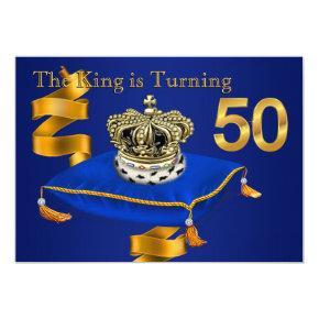 Mans King 50th Birthday Party Invitation