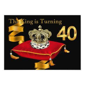 Mans King Theme 40th Birthday Party Invitation