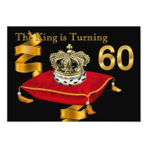 Mans King Theme 60th Birthday Party Invitation