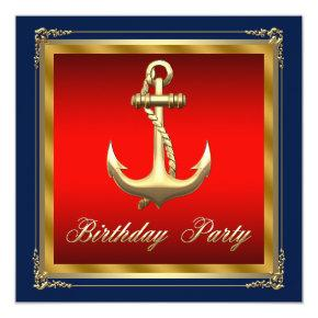 Mans Nautical Birthday Party Invitations