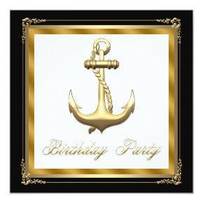 Mans Nautical Theme Birthday Party Invitation