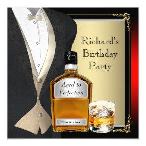 Mans Whiskey Birthday Party Invitations