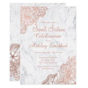 Marble rose gold floral Sweet 16 Invitation