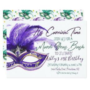 Mardi Gras Bash   21st Birthday Invitation