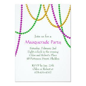 Mardi Gras Beads Invitations (white)