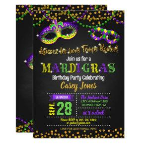 Mardi Gras Birthday Invitation