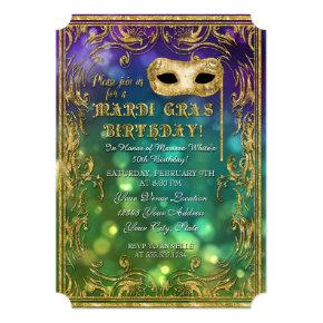 Mardi Gras Birthday Masquerade Mask Bokeh Gold Card