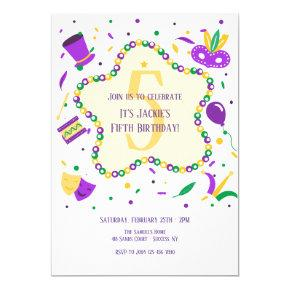Mardi Gras Birthday Party Invitation