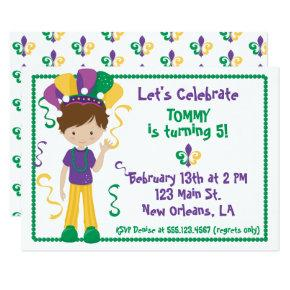 Mardi Gras Birthday Party Invitation For Boy