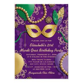 Mardi Gras Mask Birthday Invitations