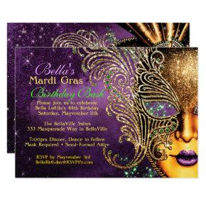 Mardi Gras Masquerade Birthday Party Invitations