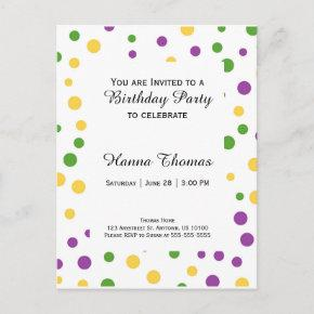 Mardi Gras Polka Dot Birthday Invitation Post