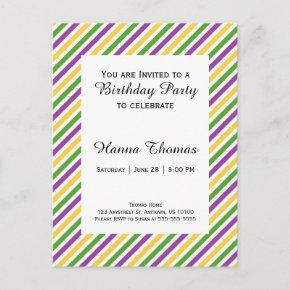 Mardi Gras Stripe Birthday Invitation PostInvitations