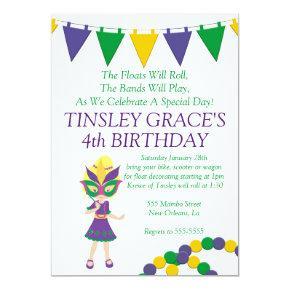 Mardi Gras Theme Birthday Invitations