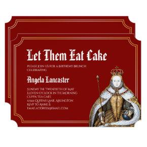 Marie Antoinette Red Birthday Brunch Party Invitation