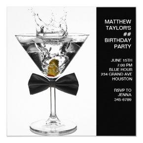 Martini Glass Mans Any Number Birthday Party Invitation