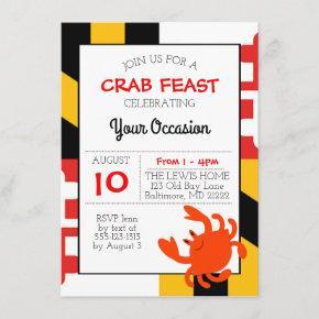 Maryland Flag Happy Crab Nautical All Occasion Invitation